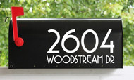 Set of 2 Modern Contemporary Mailbox Numbers with Street Name Vinyl Decals - Art Deco - Home House Office Address - COPA
