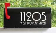 Set of 2 Art Deco Mailbox Numbers with Street Name Vinyl Decals - Home House Office Address - PLZ