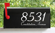 Set of 2 Decorative Mailbox Numbers with Street Name Vinyl Decals - Home House Office Address - ASPIRE