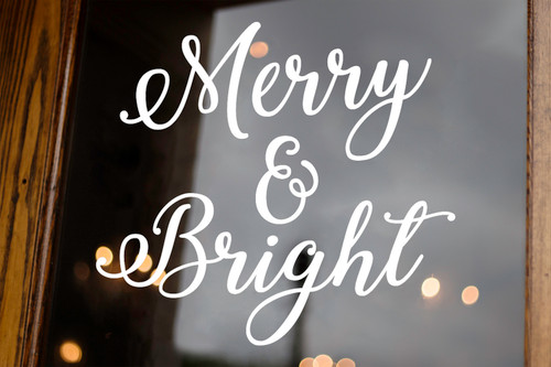 Merry & Bright Vinyl Decal V2 - Christmas Holidays Winter - Die Cut Sticker