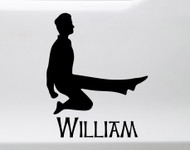 Irish Dancing Boy V2 with Personalized Name Vinyl Decal - Woman Step Dancer Ireland Dance - Die Cut Sticker