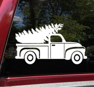 Pickup Truck with Christmas Tree Vinyl Decal - Vintage Truck Xmas Holidays - Die Cut Sticker