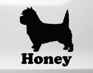 Cairn Terrier with Personalized Name Vinyl Decal V2 - Dog Puppy Scottish - Die Cut Sticker