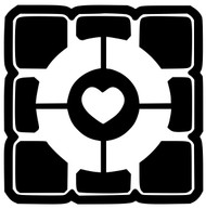 "Portal 2 Companion Cube Vinyl Decal Sticker 4"" X 4"""