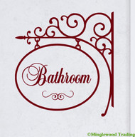 "BATHROOM 10.5"" x 10"" Vinyl Decal Sticker Sign - Loo Lavatory Powder Room"