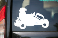 White silhouette of a Go Kart and driver custom vinyl decal made by Minglewood Trading. Decal is applied to the rear of a minivan.