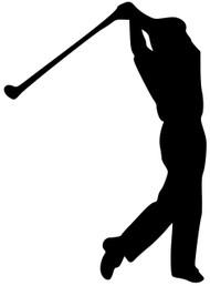 "Golf Golfing Man Tee Shot Drive Swing Driver Vinyl Decal Sticker - 5.5"" x 4"""