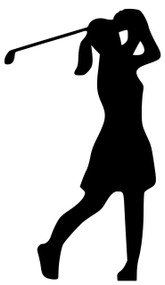 "Golf Golfing Woman Tee Shot Drive Swing Driver Vinyl Decal Sticker - 5.5"" x 4"""