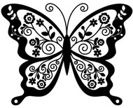 "Butterfly (version 2) - Vinyl Decal Sticker - 11.75"" x 9""  - Skipper Moth Tattoo"