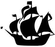 "Pirate Ship Vinyl Decal Sticker - Schooner Jolly Roger Blackbeard - 11"" x 9"""