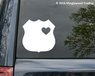 "Policeman Wife - Police Cop Heart Badge Vinyl Decal Sticker - 11"" x 11"""