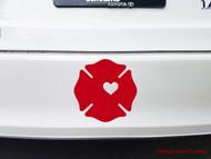 FIREFIGHTER CROSS HEART Vinyl Decal Sticker - Maltese Badge Fireman Wife