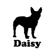 BOSTON TERRIER with Personalized Name Vinyl Sticker -Puppy Dog - Die Cut Decal