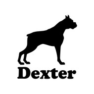 BOXER with Personalized Name Vinyl Sticker - Deutscher Dog Puppy - Die Cut Decal