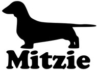 "Dachshund Dog Vinyl Decal Sticker with Custom Personalized Name 3.5"" x 5"""