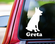 "German Shepherd Dog Vinyl Decal Sticker with Custom Personalized Name 6"" x 3.5"""