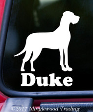 "GREAT DANE with NAME  5"" x 6"" Vinyl Decal Sticker - Dog Mastiff Gentle Giant Personalized - FREE SHIPPING"