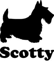SCOTTISH TERRIER with Personalized Name Vinyl Sticker - Scottie Dog Puppy - Die Cut Decal