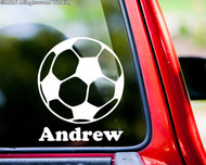 "Soccer Ball Vinyl Decal Sticker with Custom Personalized Name 6"" x 5"""
