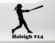 Softball Player Vinyl Decal with Custom Personalized Name - Batter Hitter Fastpitch - Die Cut Sticker