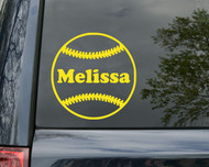 "Softball Vinyl Decal Sticker with Custom Personalized Name 5"" x 5"""