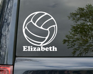 "Volleyball Vinyl Decal Sticker with Custom Personalized Name 6"" x 5"""