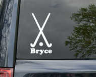 "Field Hockey Sticks Vinyl Decal Sticker with Custom Personalized Name 6"" x 3"""
