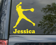 "Softball Pitcher Vinyl Decal Sticker with Custom Personalized Name 6"" x 4.25"""
