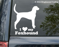 "I love my Foxhound vinyl decal sticker 5"" x 5.5"" Hound Dog"