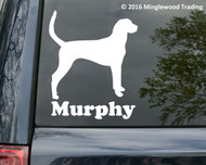"Foxhound Dog vinyl decal sticker with Custom Personalized Name 5"" x 6"""