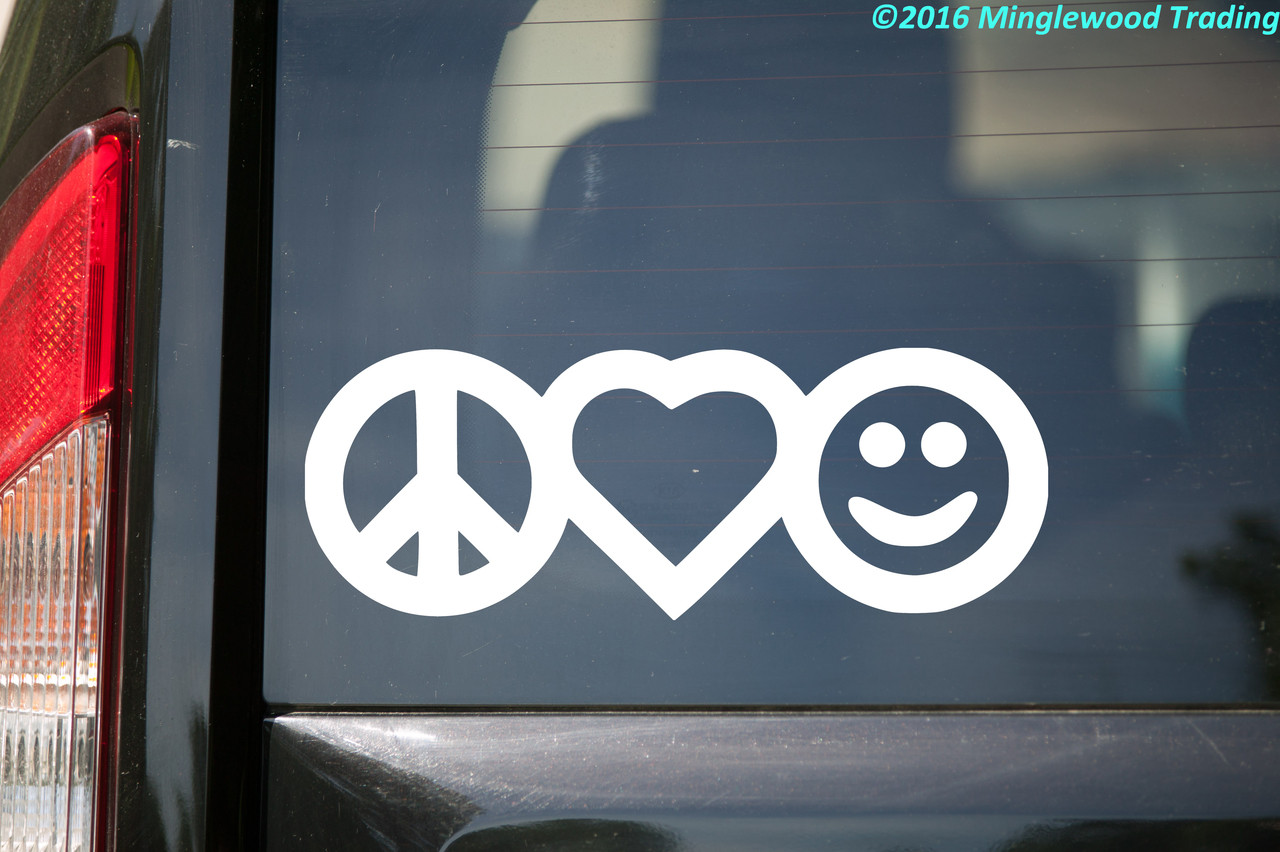 PEACE LOVE HAPPINESS Vinyl Decal Sticker Car Window Wall Laptop Heart Symbol