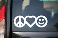 "Peace Love Happiness vinyl decal sticker 7"" x 2.5"" Peace Sign Heart Smiley Face"