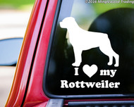 "I Love My Rottweiler vinyl decal sticker 5"" x 6"" Rottie Rott Dog Heart"
