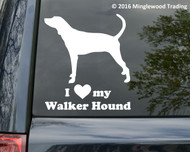 custom white vinyl decal of a Walker Hound silhouette with I LOVE my Walker Hound beneath.