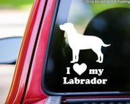 "I Love My Labrador vinyl decal sticker 6"" x 5"" Dog Chocolate Yellow Black Lab - curved"