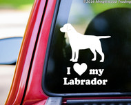 "I Love My Labrador vinyl decal sticker 6"" x 5"" Dog Chocolate Yellow Black Lab - straight"