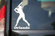 "Baseball Batter vinyl decal sticker with Custom Personalized Name 3.5"" x 6.5"""