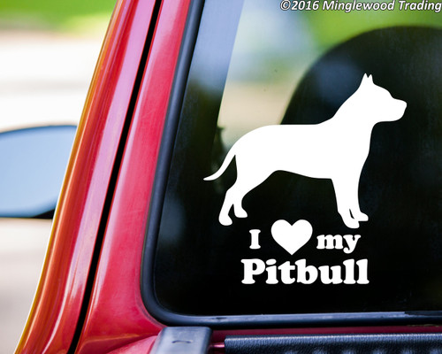 custom white vinyl decal of a pitbull dog silhouette with I LOVE my Pitbull beneath.
