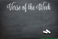 "White custom vinyl decal of ""Verse of the Week"" applied to a chalkboard. by Minglewood Trading."