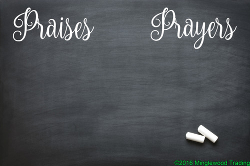 "White custom vinyl decal of ""Praises"" and ""Prayers"" applied to a chalkboard. by Minglewood Trading."
