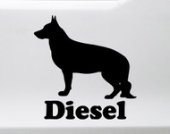 German Shepherd with Personalized Name Vinyl Decal V2 - Dog Puppy GSD - Die Cut Sticker