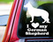 custom white vinyl decal of a german shepherd dog silhouette with I LOVE my German Shepherd beneath made by Minglewood Trading.