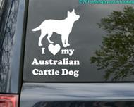 "I Love my Australian Cattle Dog vinyl decal sticker 7"" x 5"" Red Blue Heeler ACD"