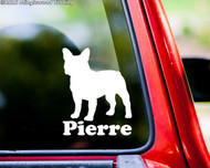 "French Bulldog Dog Vinyl Decal Sticker w/ Custom Personalized Name 6"" x 5"""