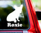 White silhouette of a French Bulldog custom vinyl decal with the name Pierre below. By Minglewood Trading. Applied to the rear window of a truck.