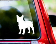 White silhouette of a French Bulldog custom vinyl decal applied to the rear of a truck. By Minglewood Trading.