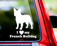 """White silhouette of a French Bulldog with """"I love (heart) my French Bulldog"""" custom vinyl decal applied to the rear of a truck. By Minglewood Trading."""