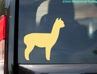Cream/Ivory custom vinyl decal of an alpaca. By Minglewood Trading. Applied to the rear window of a minivan.