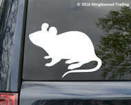 White custom vinyl decal of a mouse. By Minglewood Trading. Applied to the rear window of a minivan.