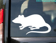 White custom vinyl decal of a rat. By Minglewood Trading. Applied to the rear window of a minivan.